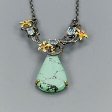 Vintage Natural Turquoise 925 Sterling Silver Necklace Length 18/N03050