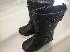 Cute OLD NAVY Girl Rain Dress Zipper Black Patent Leather-Like Boots Size 7
