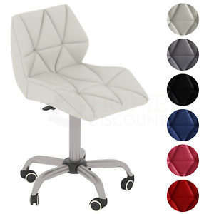 Computer Office Chair Cushioned Home Chrome Leather Swivel Small Adjustable Desk
