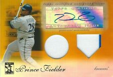 Prince Fielder Brewers 2009 Topps Tribute Gold Dual Relic 2 Color Auto Card /25