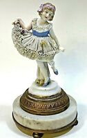 """Antique Porcelain (Dresden ?) Lady Figurine Lace Dress Marble Base 7""""tall"""