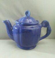 Vintage Shawnee Pottery Ceramic Teapot Cobalt Blue Floral MCM Collectible Nice