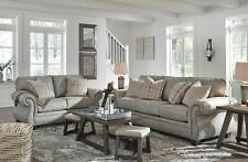 Traditional Living Room Furniture Gray Microfiber Fabric Sofa Loveseat Set IG2H