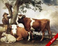 FARMER & HIS YOUNG BULL OTHER FARM ANIMALS OIL PAINTING ART REAL CANVAS PRINT