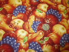 """2061.  AUTUMN ACCENTS FRUITS Craft or Quilting COTTON Fabric - 44"""" x 1 5/8 Yds."""