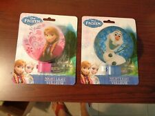 (2) Disney Frozen Night Lights Rotary Shade W/ Bulb Olaf & Anna Free Ship
