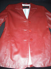 VERA PELLE ITALIAN LEATHER JACKET BURGUNDY? DARK RED SIZE 42 S/M MADE IN ITALY