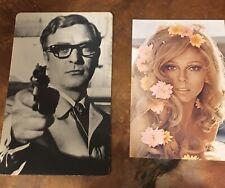 NANCY SINATRA 1970 ad Caesars Palace & Michael Caine 1967 Celebrity Post Card