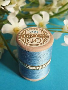 744B/Splendid Spool of Thread Alsa For Embroidery N°60 Blue of France N°799