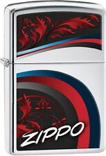 Zippo Satin and Ribbons With Leaves Logo High Polish Chrome Lighter NEW 29415