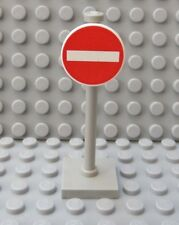 LEGO Road Sign Do Not Enter on Pole Stand