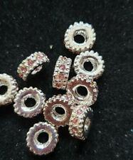 10 X 6mm de diamantes de imitación latón Espaciador Perlas Verde Esmeralda