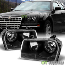 Black 2005-2010 Chrysler 300 Headlights Headlamps Left+Right Replacement 05-10