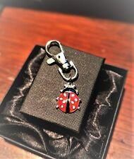 Handmade Enamel and Silver Alloy Ladybird Clasp / Handbag Charm. Gift Boxed.