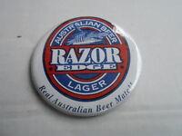 "VINTAGE 3"" PINBACK BUTTON #55- 054 - RAZOR EDGE LAGER AUSTRALIAN BEER"