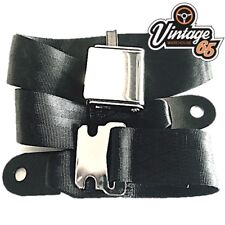Classic Triumph MG Chrome Buckle 2 Point Adjustable Static Seat Lap Belt Black