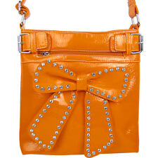 ORANGE RHINESTONE BOW LOOK PATENT MESSENGER BAG SATCHEL CROSS BODY WESTERN BLING