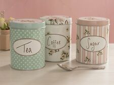 Vintage style , Retro look 3 Piece Set Coffee, Sugar, Tea tins, canister, caddy