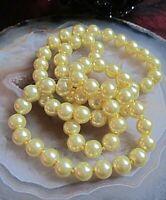 vintage perlen kette creme gold 100 cm lang 90er