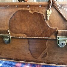 RARE VINTAGE HANDMADE 1980s AFRICA TOOLED LEATHER MACBOOK BRIEFCASE BAG R$1098