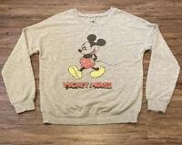 Boys Disney Designs Mickey Mouse Crewneck Sweatshirt Retro Wash Size Medium Gray