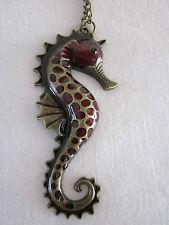 Large Red Enamel Seahorse Charm Statement Pendant Necklace Brass Bronze Tone