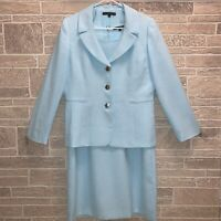 2pc Set Suit Preston & York Sz 12 Teal Blue Women's Dress Blazer Jacket