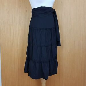 Voodoo Dolls Midi Skirt UK 16 Black Gypsy Boho Flare Tie Waist - New