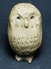 AMAZING RARE VINTAGE OWL STONE STATUE FIGURINE ANIMAL SCULPTURE 118 GR 70 MM