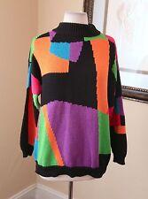 Vtg 90s Rainbow Color Block Turtleneck Sweater S Retro Rave Club Kid Geometric