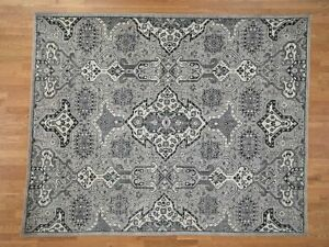 """8'4""""x10'6"""" Silver & Grey Oushak Influence Design Pure Wool Hand-Knotted R42247"""