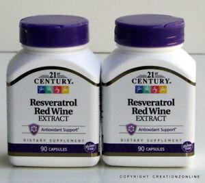 2 BOTTLES TOTAL 180 CAPS 21ST CENTURY RESVERATROL RED WINE EXTRACT ANTIOXIDANT