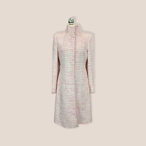 Oasis Pink White Tweed Overcoat Size 12 Classic BNWOT Wedding Occasion AllSeason