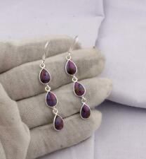 925 Sterling Silver Purple Copper Turquoise Earrings Fashion Handmade jewelry