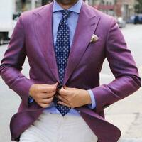 Purple Men Suit Blazer Wide Peaked Lapel Wedding Party Tuxedos Formal Wear Suits