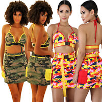 NEW Women Camouflage Print Halter Crop Top Belted Bodycon Summer Party Dress 2pc