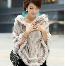 Women elegant poncho wool fur Rabbit knit cloak jacket coat cape winter outwear