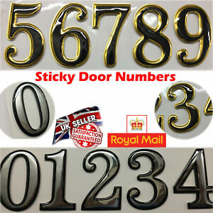 """Self Adhesive Door Numbers Chrome Finish 2"""" Number Letter House Apartment UK"""
