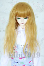 "1/4 7-8"" BJD Wig Dal SD LUTS DOD Dollfie Doll Wig Long Yellow Curly Hair"