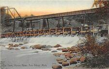 C24/ Ann Arbor Michigan Mi Postcard c'10 The Dam Huron River Railroad Bridge