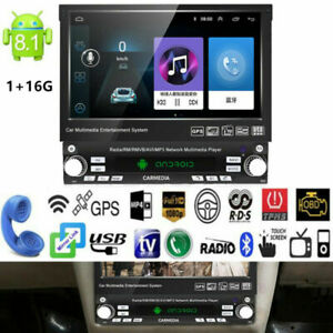"""7"""" 1 Din Android 8.1 GPS Flip Car Stereo Player Touch Screen USB WiFi Mirrorlink"""