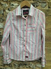 WOMENS SUPERDRY STRIPED SHIRT SIZE SMALL TOP TEE BLOUSE UK 8