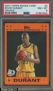 2007-08 Topps Orange #2 Kevin Durant Supersonics RC Rookie PSA 8 NM-MT