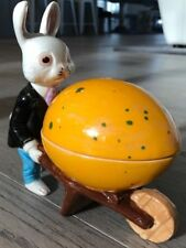 Vintage Rabbit w/Wheelbarrow & Easter Decoration Candy Dish 1950s Quirky Cute