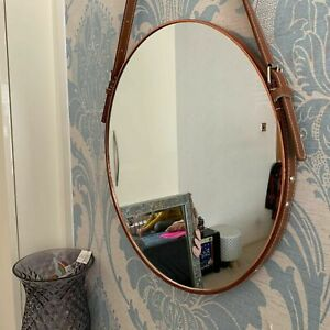 40cm Round Copper Mirror Industrial Style Leather Strap Copper Hanging Mirror