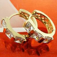 18K Yellow G/F Gold Solid Hoop Huggie Earrings Diamond Simulated Ladies Design