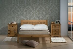New Modern 4FT Small Double White & Oak Pine Bed Frame with Mattress Options