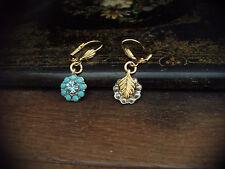 Turquoise Drop Pierced Earrings Vintage Aquamarine Blue Crystal &
