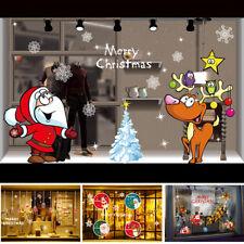 Set Noël Décor Vitrine Stickers Mural Autocollant Verre Fenêtre Maison Boutique