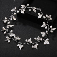 Hair Jewelry Pearl Crystal Leaf Headwear Wedding Bride Tiaras Hair Accessories
